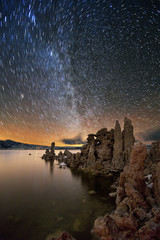 Star trails over the South Tufa, Mono Lake, California