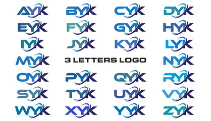 3 letters modern generic swoosh logo  AYK, BYK, CYK, DYK, EYK, FYK, GYK, HYK, IYK, JYK, KYK, LYK, MYK, NYK, OYK, PYK, QYK, RYK, SYK, TYK, UYK, VYK, WYK, XYK, YYK, ZYK