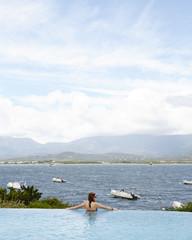 Woman in Corsican Infinity Pool