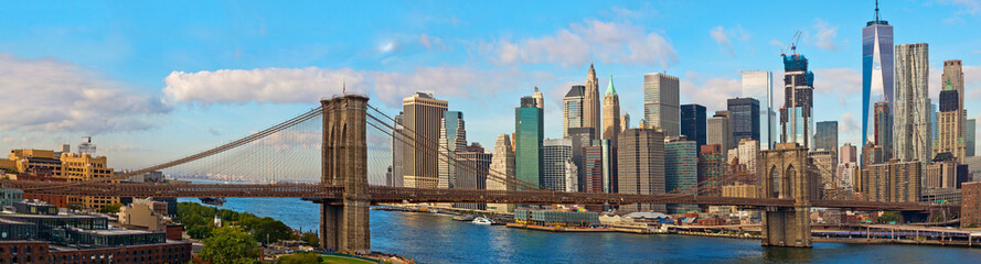 Poster de jardin Brooklyn Bridge Brooklyn Bridge and Cityscape of New York