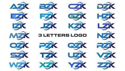 3 letters modern generic swoosh logo  AZK, BZK, CZK, DZK, EZK, FZK, GZK, HZK, IZK, JZK, KZK, LZK, MZK, NZK, OZK, PZK, QZK, RZK, SZK, TZK, UZK, VZK, WZK, XZK, YZK, ZZK