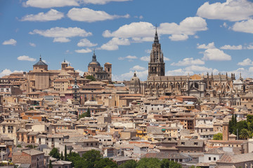 Panorama view of Toledo Cathedral and medieval houses