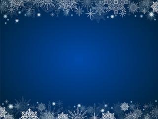 fairytale christmas background many snowflakes frame blue rectan