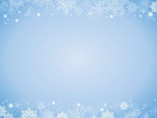 fairytale christmas background many snowflakes frame light blue