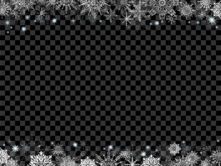 fairytale christmas background many snowflakes frame transparent