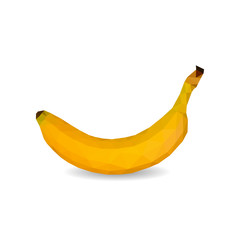 polygon vector light yellow ripe banana on white background