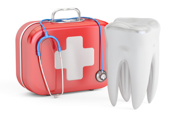 Tooth and First Aid Kit, dental first aid concept, 3D rendering