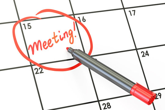 Meeting date on calendar concept, 3D rendering