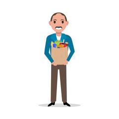 Vector cartoon man with market paper bag full food