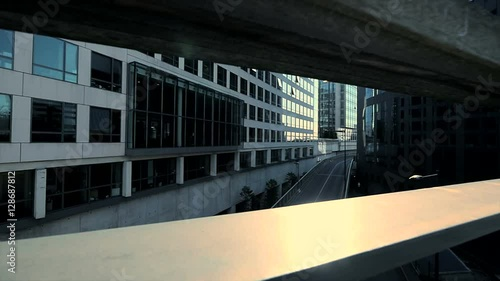 modern office building sun beaming sunbeam sun flare urban city