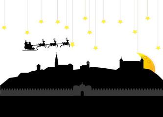 Santa claus flying toledo skyline in spain