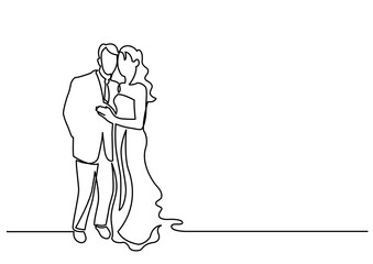 continuous line drawing of loving couple