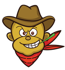 Monkey Cowboy Head Cartoon