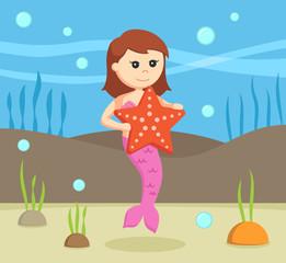 female mermaid with big starfish