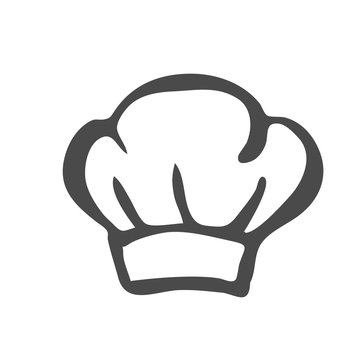 Chef hat silhouette isolated. Black hat chef cook for logo.