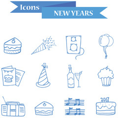 Vector art element New Year icons