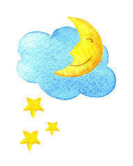 Cute cartoon cloud, stars and smiling moon. Hand drawn watercolor illustration. Water-color painted drawing.