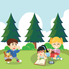 picnic with friends illustration design