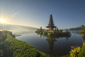 Aluminium Prints Indonesia Pura Ulun Danu Bratan, Hindu temple on Bratan lake in Bali, Indonesia, at sunrise
