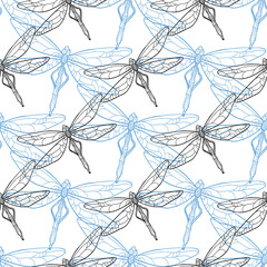 Seamless background with dragonflies. Vector illustration.