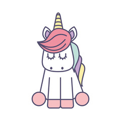 Cute fantasy unicorn icon vector illustration design