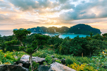 View Point bay Koh Phi Phi Don on sunset in andaman sea, Phi Phi