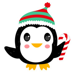 Happy Xmas penguin vector, with details.
