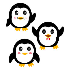 Penguins set vector, cute cartoon.