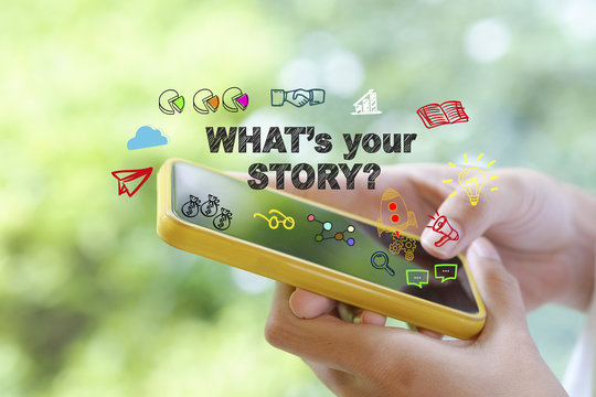 what's your story over a smart phone on blur background , busine