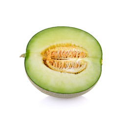 Green cantaloupe melon slices on white background