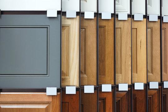 wood cabinet door samples in market in a row