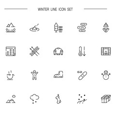Winter flat icon set