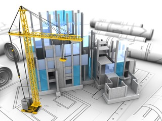 3d illustration of building construction over drawings background with crane