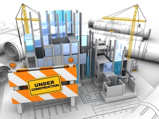 3d illustration of building construction over drawing rolls background with cranes