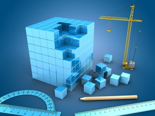 3d illustration of blue cube over blue light background with crane