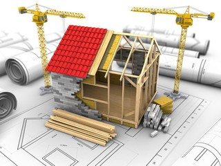 3d illustration of two cranes over drawings background with frame house structure