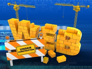 3d illustration of web word over digital background with two cranes