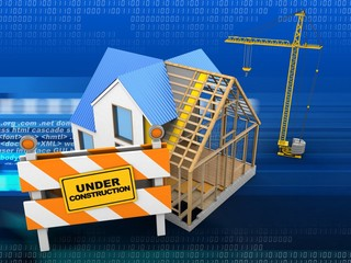 3d illustration of house construction over digital background with crane