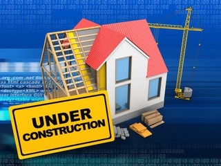 3d illustration of house structure over digital background with crane