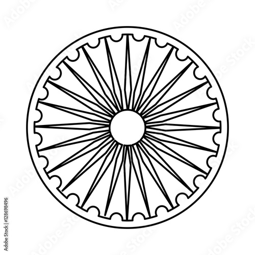 Ashoka Chakra Symbol Icon Vector Illustration Graphic Design Stock