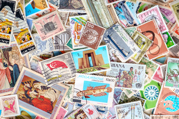 Various country in the world postages background.