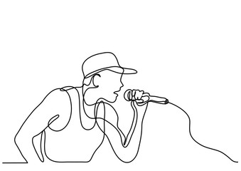 continuous line drawing of singer with microphone