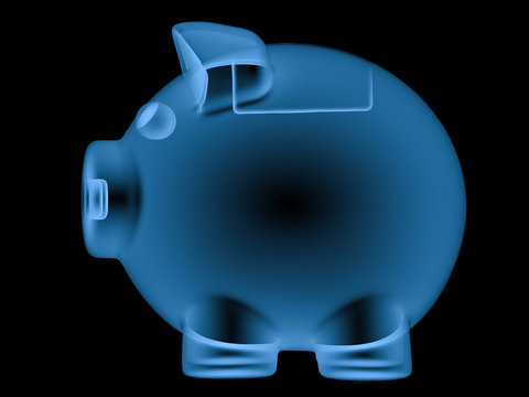 x ray piggy bank isolated on black