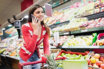 Woman smiling and calling