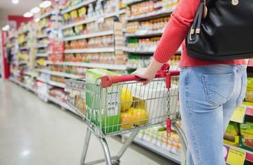 Rear view of woman shopping