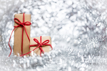 Christmas background with decorative gift.