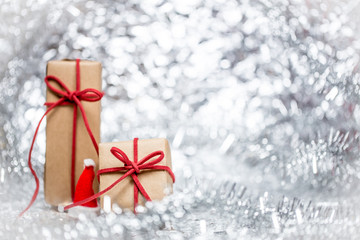 Christmas background with decorative hat and gift.