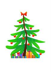 Christmas tree cute vector illustration isolated