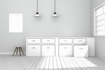 3D rendering : illustration of White interior modern kitchen room design with two vintage lamp hanging. wooden floor.sun light shining from outside of the room.design your home concept.