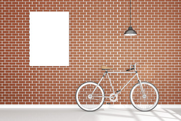 3D rendering : illustration of retro vintage bicycle and vintage metal lamp hanging on the roof against of the red brick wall.background.hipster.white poster frame hanging on the brick wall.